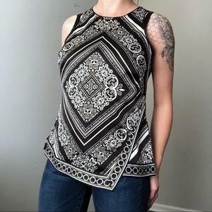 WHBM Black Diamond Print Top Size Medium